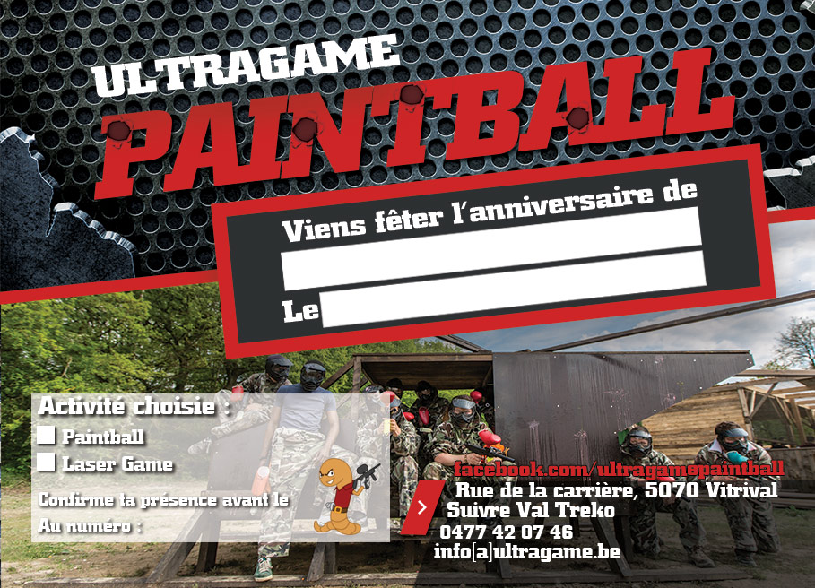 Invitations paintball-lasergame-enfants